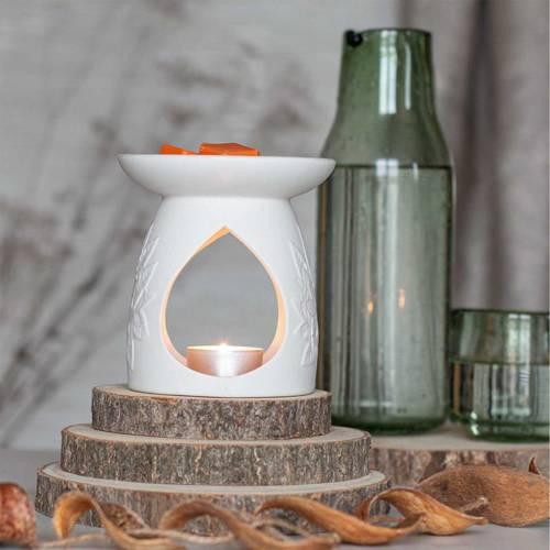 Ceramic Wax Burner Fleur - White