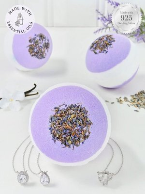 Charmed Aroma Lavender jewel bath bomb with Sterling Silver 925 Necklace