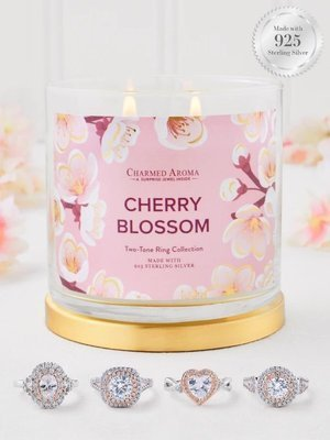 Charmed Aroma jewel soy scented candle with Silver Ring 12 oz 340 g - Cherry Blossom