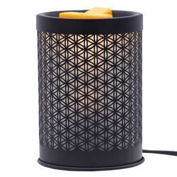 Electric white wax burner for scented wax melts Flower Of Life black