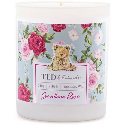 Ted & Friends scented soy candle in white glass 220 g - Sevillana Rose