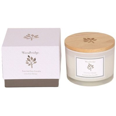 Woodbridge medium scented soy candle 3 wicks 370 g in a box - Lime Over Mango