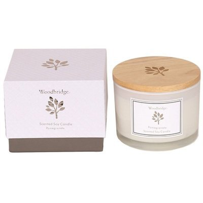Woodbridge medium scented soy candle 3 wicks 370 g in a box - Pomegranate