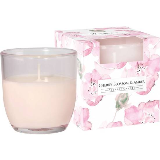 Bispol scented candle glass in box 100 g - Cherry Blossom & Amber