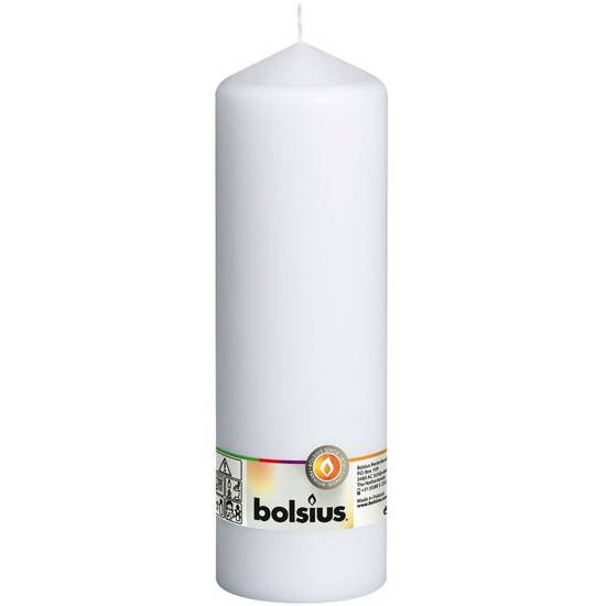Bolsius pillar unscented solid candle 25cm 250/78 mm - White
