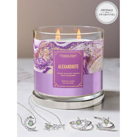 Charmed Aroma jewel soy scented candle with silver Necklace 12 oz 340 g - Alexandrite