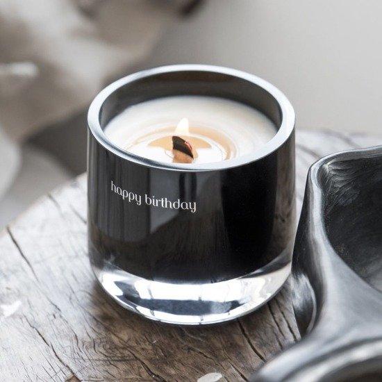Message Candles Black Message Candle świeca zapachowa w szkle czarna Hello! - Amber