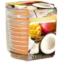 Bispol fioletowa świeca zapachowa w prążkowanym szkle 130 g - Mango Coconut Mango Kokos