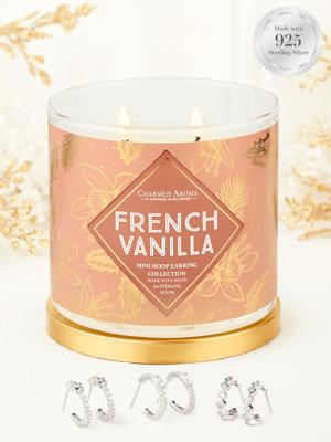 Charmed Aroma sojowa świeca zapachowa z biżuterią 12 oz 340 g Kolczyki koła srebro 925 - French Vanilla