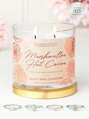 Charmed Aroma sojowa świeca zapachowa z biżuterią olejki eteryczne 12 oz 340 g Pierścionek - Marshmallow Hot Cocoa