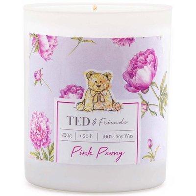 Ted & Friends sojowa świeca zapachowa w białym szkle 220 g - Pink Peony