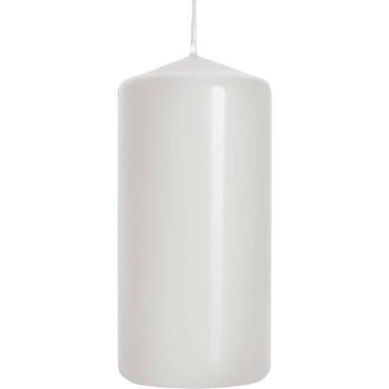 Bispol świeca bezzapachowa bryłowa pieńkowa słupek 100/48 mm - Biała
