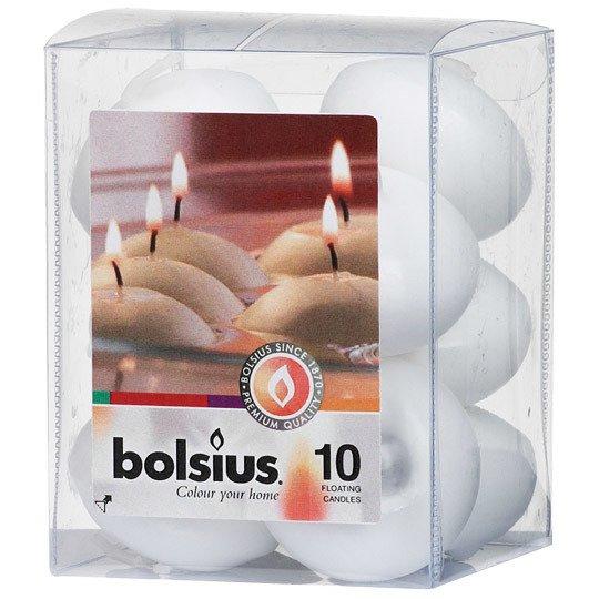 Bolsius Floating Candles świece pływające na wodę 30/45 mm 10 szt - Biały