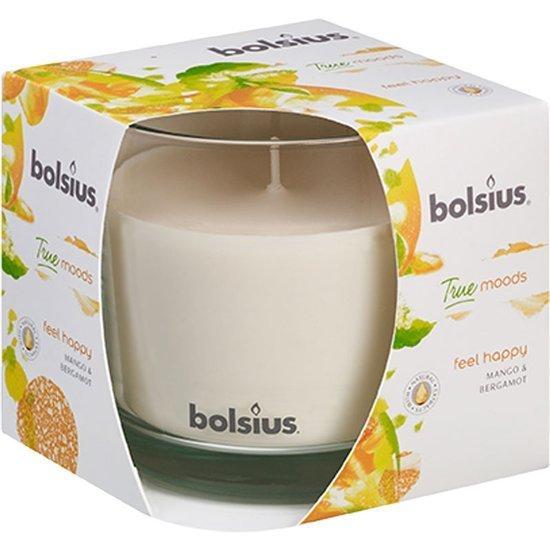Bolsius duża świeca zapachowa w szkle 95/95 mm True Moods kremowa - Feel Happy