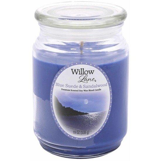 Candle-lite Willow Lane duża sojowa świeca zapachowa w szklanym słoju 538 g - Blue Suede & Sandalwood