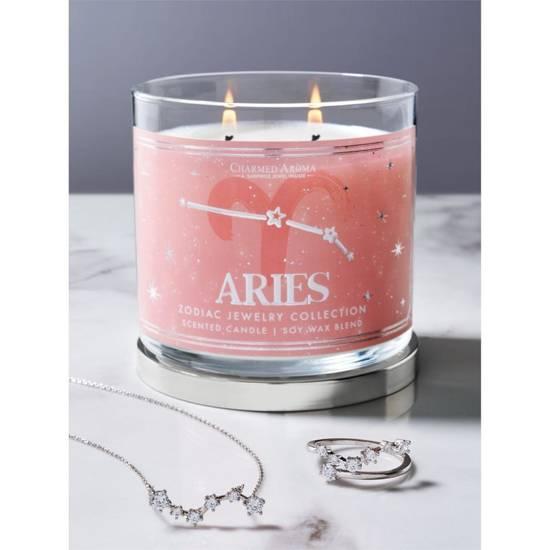 Charmed Aroma sojowa świeca zapachowa z biżuterią 12 oz 340 g Naszyjnik - Aries Baran Zodiak