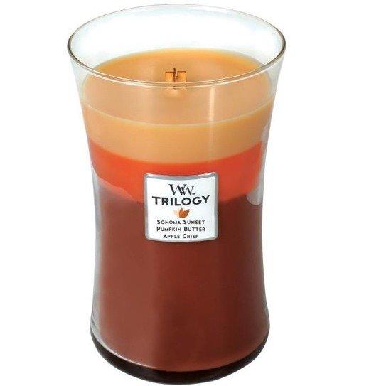 WoodWick Core Large Trilogy Candle świeca zapachowa trójkolorowa sojowa w szkle ~ 175 h - Autumn Comforts